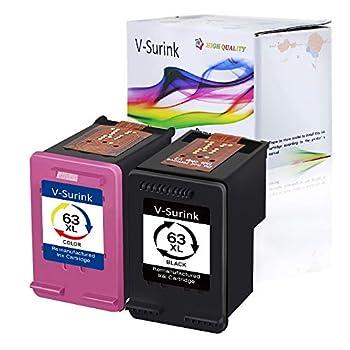 V-Surink Remanufactured Ink Cartridge for Hp 63 63XL Envy 4520 4516 Officejet 5255 5258 4655 4650 3830 3831 4655 Deskjet 2130 2132 1112 3630 3633 3634 Printer  1B1C