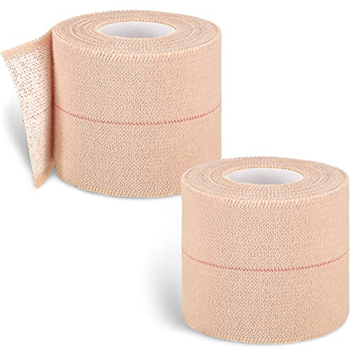 2 Rolls Elastic Tape Adhesive Bandage Wrap Flexible Stretch Bandages for Sports Ankle, Knee and Wrist Sprains, 2 Inch Wide, 5 Yard Long