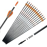 Pointdo 100% Carbon Arrow Practice Hunting Arrows with Removable Tips for Compound & Recurve Bow(Pack of 12) (Orange White)