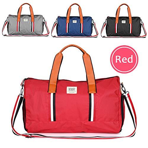 Hotrose Sporttasche Handgepäck mit Schuhfach Trainingstasche Fitnesstasche Gym-Tasche Sporttasche hochwertige Reisetasche Groß Schultergurt Herren und Damen Rot