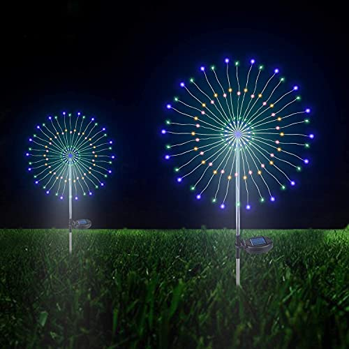 Outdoor Solar Garden Decorative Lights- 105 LED Powered 35 Copper Wires String Landscape Light-DIY Flowers Fireworks Trees for Walkway Patio Lawn Backyard,Party Decor 2 Pack, Forlivese (Multi -Color)…