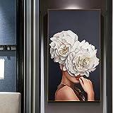 KWzEQ Mujer Abstracta Flor Lienzo Pintura Mural Imagen decoración del hogar Carteles e Impresiones Modernos,50X90cm,Pintura sin Marco