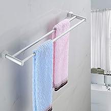 Clenp Towel Rail Towel Rack Holder, 60cm Double Towel Rack 2 Bar Space Aluminum Cloth Holder for Bathroom