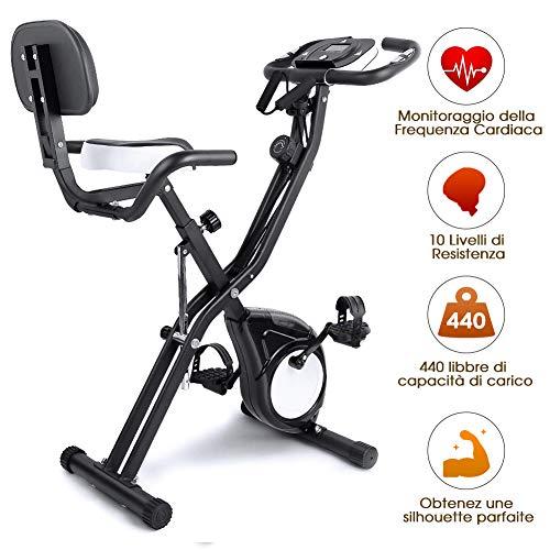 EVOLAND Cyclette da Allenamento, Home Trainer Bicicletta da Fitness S-Bike Cyclette Macchine per Training Aerobico Fitness e X-Bike, 200 kg capacità (Nero)