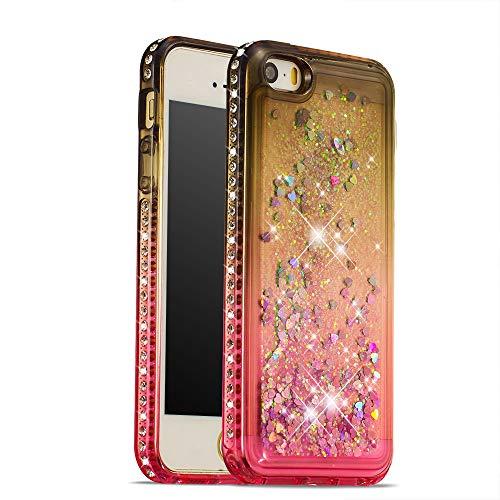 COTDINFOR iPhone 5 Funda Líquido Degradado de Color Glitter Sparkle Bling Quicksand Caso Silicona Blanda Protectora Carcasa para iPhone 5 / 5S / SE TPU Gray Pink YB.