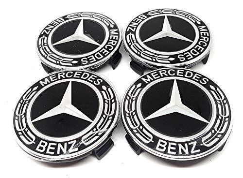 Forten Car 4x Bouchons enjoliveurs pour jantes en alliage, logo Mercedes de 75 mm, noir avec palmier, classe A B C E GLK