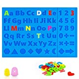 3D Printing Pen Mat for Kids, Siliocne DIY Alphabet Mat Pad with 2 Finger Caps for Boys Girls Educational Interactive Mat for Kids to Learn Letters Numbers Shapes - Best Tools for 3Doodler/MIKA3D