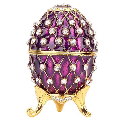 Caja de baratijas en Forma de Huevo con bisagras con Diamantes, pequeña Caja de joyería Vintage Caja de Anillo esmaltado Cajas de Adorno niñas