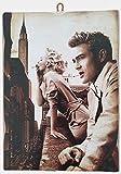 KUSTOM ART Cuadro de estilo vintage Marilyn Monroe & James Dean de colección, impresión sobre madera