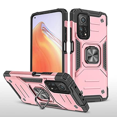 LUSHENG Compatible con Xiaomi Mi 10T 5G Funda, A Prueba de choques Carga Pesada Funda Protectora para Xiaomi Mi 10T 5G / 10T Pro 5G 6.67', Carro Magnético Titular de Anillo - Oro Rosa