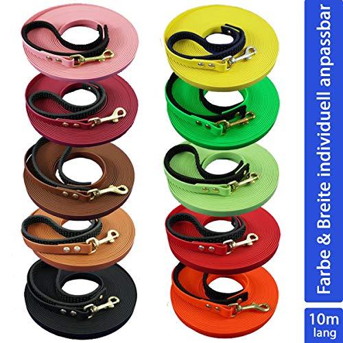 bio-leine Schleppleine aus Biothane, 10 Meter Länge, 9 bis 19 mm breit, für kleine und große Hunde, schmutz- und wasserabweisende Hundeleine, 20 verschiedene Farben