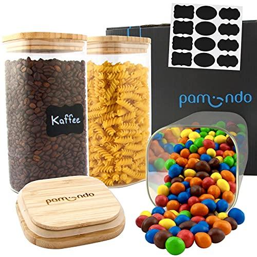pamindo Glas Vorratsdosen mit Bambusdeckel eckig 1500ml [3er Set] - Glasbehälter quadratisch mit Deckel zur Aufbewahrung von Vorräten inkl. Tafelaufkleber