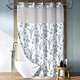Lagute SnapHook Hookless Fabric Floral Shower Curtain for Bathroom with Snap-in Liner & Mesh Top Window, Machine Washable & Water Repellent | Hotel Grade, Spring Flower Decor, 71Wx74L, Blue Bouquet