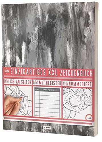 """Mein Zeichenbuch / 136 Seiten, Nummeriert, Inhaltsverzeichnis / Dickes Skizzenbuch / PR601 """"Schwarze Deckfarbe"""" / DIN A4 Soft Cover"""