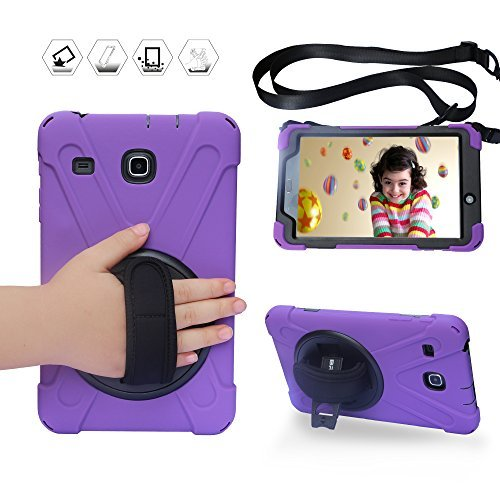 BRAECN for Galaxy Tab E 8.0 Case with 360 Degree Rotation Stand/Hand Strap and Shoulder Strap Case [Shock Proof] Hybrid pc+Silicone Cover for Samsung Tab E 8'' SM- T375/ SM-T377/SM-T378 Case (Purple)