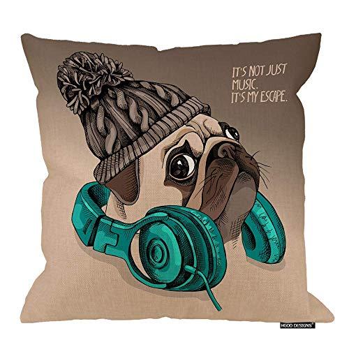 Funda de cojín Pug, Cachorro Pug en un Gorro de Punto con Auriculares en el Cuello, Funda de Almohada Decorativa Cuadrada Decorativa de Lino de algodón, 18 x 18 Pulgadas
