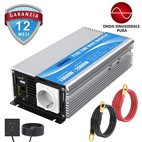ONEVER 1500W picco Car Power Inverter convertitore DC 12V a 220V AC Converter Power Supply Onda di seno modificata di alimentazione con porta USB//Universal Plug//Intelligent Fan 2800W