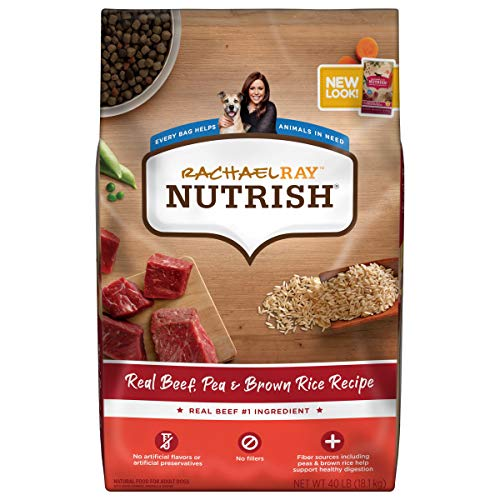 Rachael Ray Nutrish Premium Natural Dry Dog Food, Real Beef, Pea, & Brown Rice Recipe, 40 Pounds (Packaging May Vary)