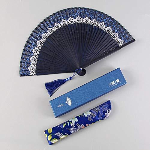 Aigial Folding Fan, Cool, Small, Classical Dance Fan, Chinese Style, Summer, Hand Fan, Gift Fan, Silk Lace,Navy Blue-E63