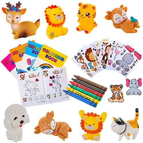PROLOSO 24 Pack Jungle Safari Animal Themed Party Favor Pack Squeezable Zoo Animals Stickers Mini Coloring Books With Crayons for Kids Toddlers Birthday Party Supplies