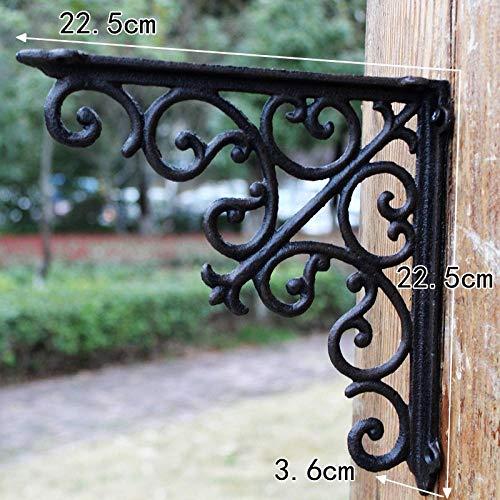 HDOUBR Verja de hierro forjado reja de hierro fundido retro marco de soporte en ángulo recto triángulo estante soporte cocina estante marco de esquina -7070 grande