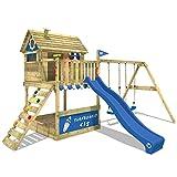 WICKEY Stelzenhaus Smart Seaside Spielturm Spielhaus mit großem Sandkasten, Holzdach, Veranda,...