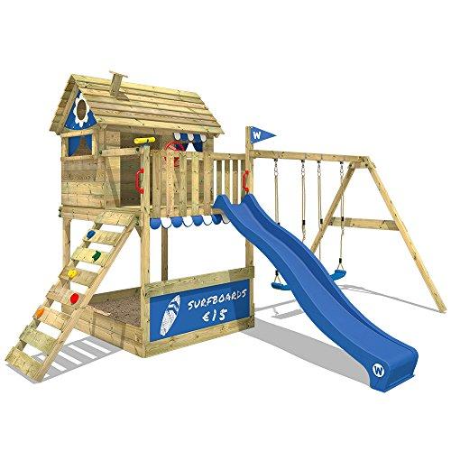 Wickey Smart Seaside Speeltoren, speelhuis met grote zandbak, houten dak, veranda, dubbele schommel en glijbaan