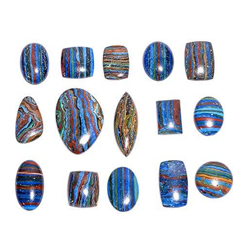 Gemkora 6 to 8pcs Rainbow Calsilica Gemstone Wholesale Cabochons Lot, Jewelry Making Loose Gemstone, Polished Decor Specimen, DIY, Wire Wrapping, Reiki, Healing Crystals, Bulk Gemstone Deal 100 carats