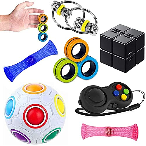 Sensory Fidget Toys Set 7 Pack. Stress Relief and Anti-Anxiety Tools...