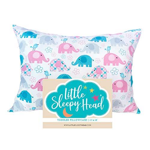 Little Sleepy Head Toddler Pillowcase  Elephants 13x18 Inch
