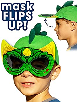 Dinosaur Hat with Flip Down Sunglasses - Girls and Boys Fun Hats Green Dino Mask Crazy Hats for Kids Birthday Party!
