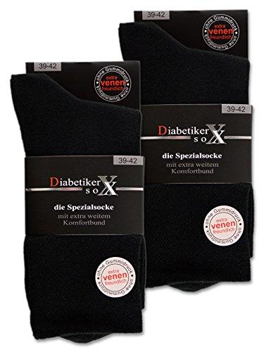 6 Paar Socken mit Komfortb& ohne Gummi und ohne Naht 97prozent Baumwolle Damen und Herren Diabetiker Socken (Schwarz 43-46)
