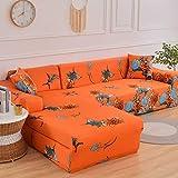 Fundas de sofá elásticas Impresas para Sala de Estar Funda de sofá Esquina en Forma de L Chaise Longue Sillón Sofá Funda A20 2 plazas