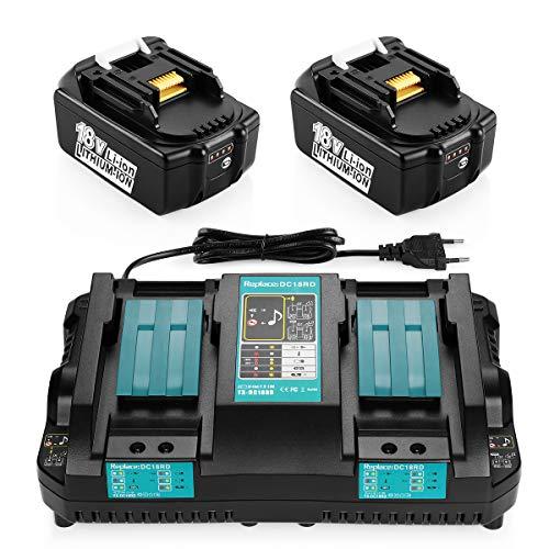 Energup Cargador rápido de repuesto de doble puerto y 2 baterías de 5.0Ah 18V para batería de BL1860B BL1860 BL1850 BL1845 BL1840B BL1840 BL1835 BL1830B BL1830 baterías de repuesto
