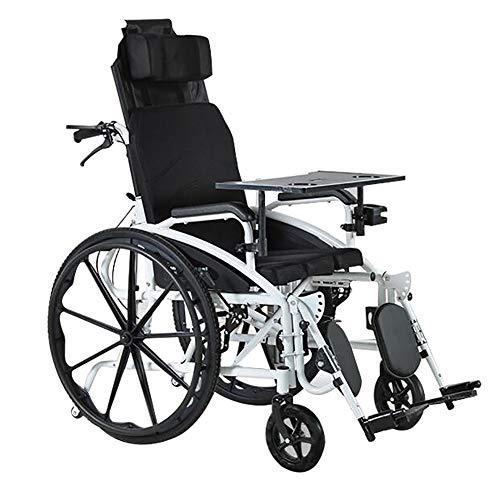 ANAN Sedia a rotelle Manuale Leggera con Regolabile Arresto Schiena/Gambe e Staccabile Tavolo da Pranzo e Vasino