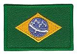 Patch Brasilien Flagge Klein Brazil Aufnäher Bügelbild Größe 4,5 x 3,0 cm