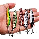 HUYANJUN, 5 Unids/Set 18g 75mm Cucharas de Metal Señuelo Spinner Cebo Swimbait Jigging de Vibración Señuelos de Pesca Cebo Duro Bass Fishing Tackle Pesca