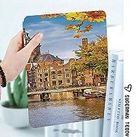 IPadケース スマートカバー アイパッドケース タブレットカバー アイパッド第四世代 第三世代 運河とオランダの古い教会ヨーロッパの伝統的なロマンチックなシーン