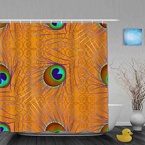 Tenda da Doccia Personalizzata,Awaresome East Texture Piatto Indiano Pavone Piuma Natura Trendy Grunge Asia Uccello Arcobaleno,Materiale Poliestere e con Ganci 180 * 180cm