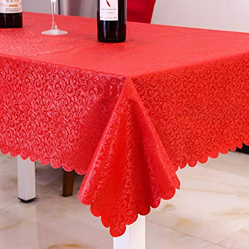 Kuingbhn Rectangular Mantel de Lavable Estilo Moderno Anti Escaldado Anti Rayado Tamaño Seleccionable de Cocina Salón Rojo 140×220cm
