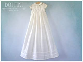 Baby Baptism and Christening Outfit with Detachable Skirt, Heirloom Christening Silk Outfit