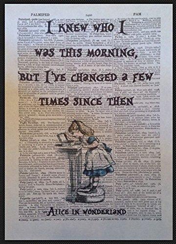 Parksmoonprints - Stampa artistica da parete con citazione di Alice nel paese delle meraviglie