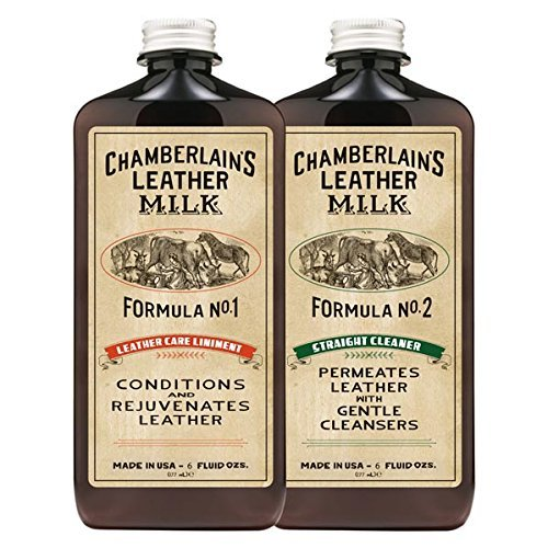 Chamberlain's Leather Milk Conditioner and Cleaner Kit - No. 1 - 2 Conditioner + Cleaner Kit - All Natural, Non-Toxic Leather Care. 2 Sizes. Made in the USA. Includes 2 Premium Restoration Pads! 6 OZ