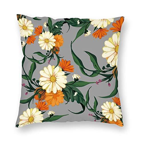 No Brands - Funda de almohada de doble cara estampada con diseño de crisantemos y crisantemos abierta y lista para cojín de felpa con cremallera oculta, cómoda, cuadrada, para dormitorio, sofá de 45,7 x 45,7 cm