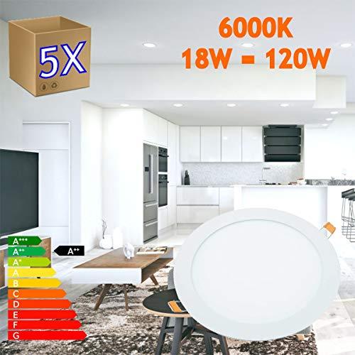 JANDEI - 5x Downlight LED 18W Redondo Plano De Empotrar Luz Blanca Fría 6000K, Aluminio Aro Blanco Mate, Para Hueco De 200-205mm Blanco