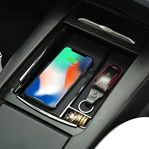 TeslaOwner Aufbewahrungsbox für die Mittelkonsole von mit kabellosem Ladegerät für iPhone X, iPhone 8, iPhone 8 Plus, Samsung Galaxy Note 8, S8 Plus, S8 und S7