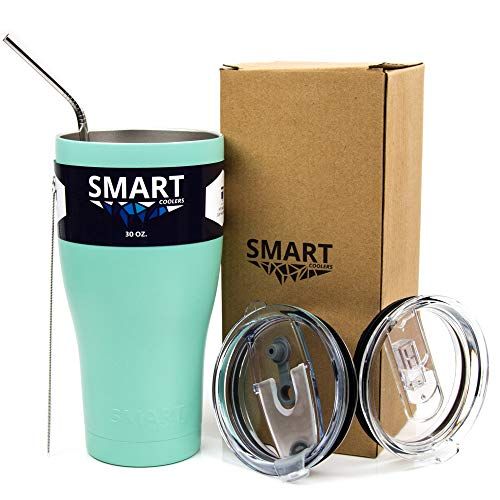 Tumbler 30 Oz Smart Cup Color - Ultra-Tough Double Wall Stainless Steel - Yeti Style - Premium Insulated Mug - Powder Coated - Leak-Proof, Sliding Lid, Straw, Brush & Gift Box - Seamist
