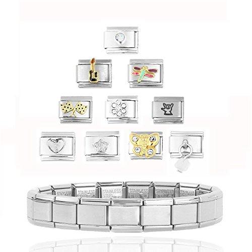 Akkki Italian Charms Armband Classic Silber italy gold Edelstahl Links glider Kult modele Blume tiere Herz Basisarmband 9mm/18 Glieder matt Farbe kompatibel mit Original strass stein Zirkonia Silber