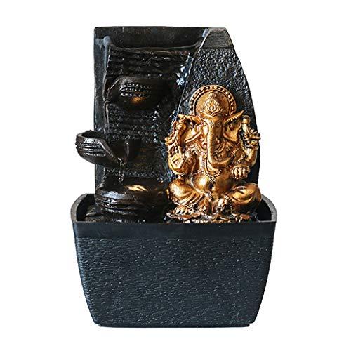 YIXIN2013SHOP Fuente De Escritorio Zen pequeña Fuente de la Tabla decoración del Escritorio de Oro Elefante Cascada de la Fuente, 6.7