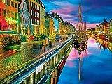 Amnogu Puzzles De 1000 Piezas para Adultos - Ciudades En Color - Copenhague - Encaja Perfectamente